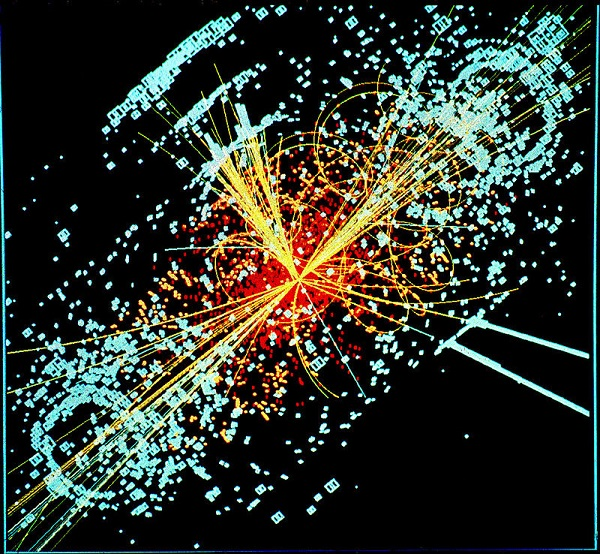 Simulated proton-proton collision at the LHC. The lines represent theoretical particle tracks.