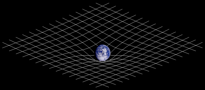Artist's impression of the curvature of spacetime by the Earth.