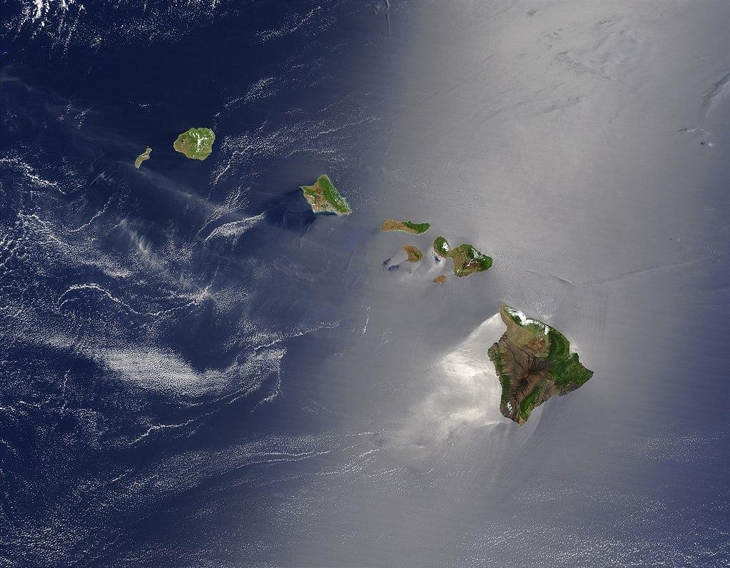 Photograph of the Hawaiian archipelago, taken from space. Public domain image via NASA